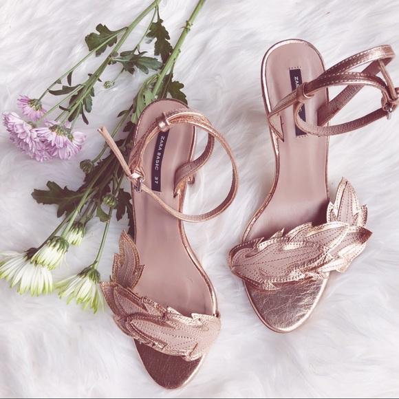 {zara} braided leaf detail golden sandal heels